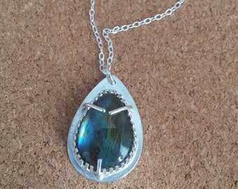 Labradorite Pendant Silver Labradorite Gemstone pendant Birthstone Pendant Teardrop Jewelry