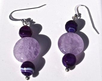 Amethyst and Purple Agate Sterling Silver Earrings