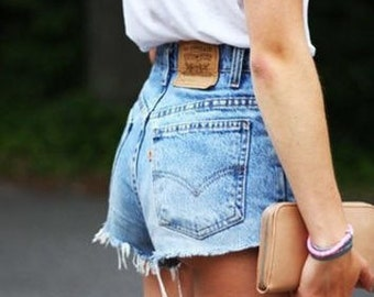 High Waisted Shorts Distressed Cut off Shorts/All Sizes/Made to Order/Sizes S-XXL/Vintage Shorts/Frayed Edges plus size