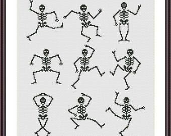 Halloween Cross stitch pattern  Dancing Skeletons Instant Download