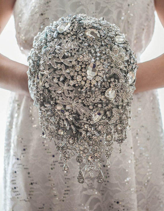 Silver crystal wedding broach bouquet