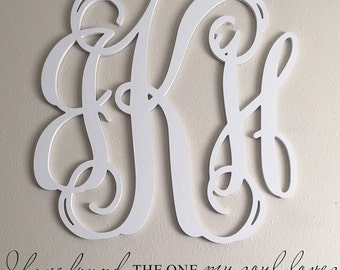 Painted Wooden Monogram- Wall Hanging Monogram -Nursery Monogram- Wedding Monogram - Monogram Door Hanger - Monogram Door Wreath -Wall Decor