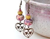 Vintaj Antique Brass, Lampworked and Czech Glass Earrings