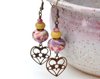 Vintaj Antique Brass, Lampworked and Czech Glass Earrings