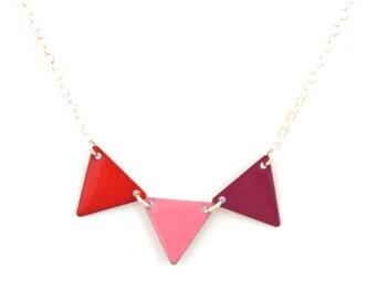 "Necklace ""Pink magenta red flag"""