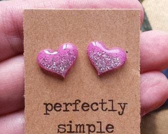 Pink with silver glitter heart stud earrings