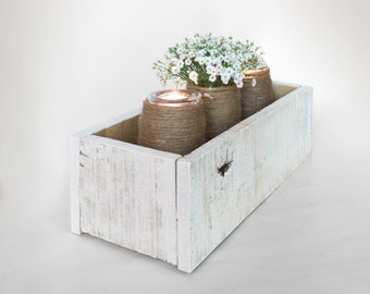 Distressed white centerpiece box, personalized rustic wood box, rustic white wooden storage box