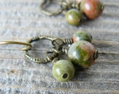 Unakite Earrings, Unique Gemstone Dangles, Green and Brown Gemstone Bead Earrings, Southwestern Jewelry, Bohemian Style Dangle Earrings