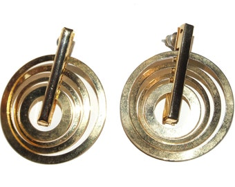 Vintage 90's Large Gold Tone Layered Four Concentric Circle Dangle Earrings
