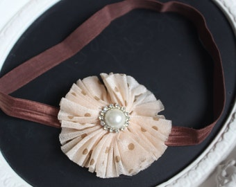 Tan Polka Dot Chiffon Shabby Chic Flower with Ivory White Pearl Diamond Gem Accent on Brown Elastic Headband