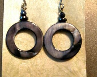 Perfect circle abalone earrings