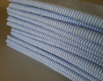 Light Blue Cotton SEERSUCKER Cloth Napkins, by Chow with ME