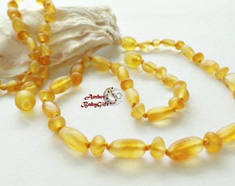 """Sale->Set of Raw Unpolished Baltic Amber Teething Necklace 12.5""""- 13.0"""" and Bracelet / Anklet 5.5""""- 5.9""""- Honey Amber Beads-Screw clasp, 22R"""