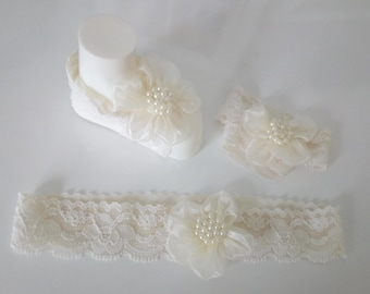 With faster shipping-Baby Sandals and headband, Baby Shoes, Cream Lace,Cream Flower-Handmade Baby Sandals with Cute Yoyo Hair band