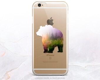 iPhone 7 Forest Bear Clear Rubber Case iPhone 7 Plus Clear Case iPhone 6 Clear Case iPhone 6S Case iPhone SE Case Samsung S7 Edge Case U194