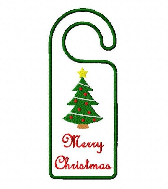 Merry Christmas Tree Door Hanger In The Hoop 5X7 By BelsEmbroidery