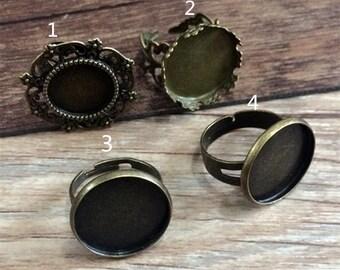 16pcs Mixed style   18mm  Bronze Ring Base