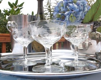 Vintage Champagne Coupe Glasses Saucers Etched with Floral Design   Set of 4 Crystal Coupes   Wedding Housewarming Gift