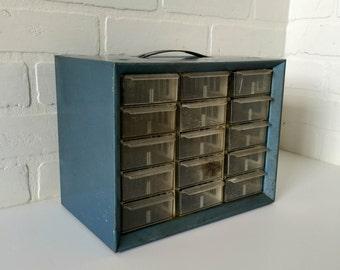 Vintage Blue Industrial Shop Metal 15 Drawer Bin Parts Cabinet Craft Storage
