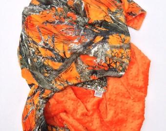 Adult Minky Blanket, Camo Minky Blanket, Orange Camo Blanket, Adult Throw,  Hunting Blanket,  Couch Throw,  Adult  Size 50 x 60