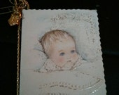 Adorable peru spanish baptism bautizaron girl paper reduced price delight religious padres art shrine baby boy bottle bunny charm church