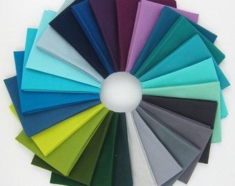 Kona Cotton Designer Palette Fat Quarter Bundle - Winter Patchwork City - Elizabeth Hartman - 25 FQs
