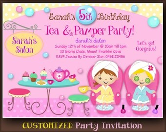 customized tea and pamper party printable invitation day spa tea party invitations cute - Pamper Party Invitations