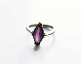 Vintage Purple Glass Ring, Size 8, Retro Costume Jewelry, Circa 1960's