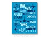 Phonetic Aviation Alphabet Canvas or Art Print, Choose Any Colors, Nursery or Baby Shower Gift, Boy's Room Art Print, Modern Airplane Art