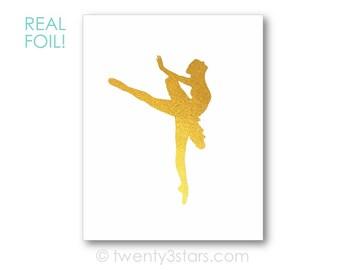 Ballerina Real Metallic Ink Art Print, Gold Silver Foil, Unframed, Dance Art, real gold foil, silver foil Ballet Name Art, Ballerina Gift