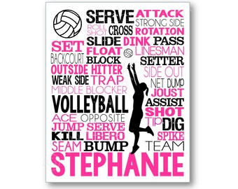 Volleyball Typography Art Canvas or Print, Girl's Room Art, Choose Any Colors, Gift for any Volleyball Player, Volleyball Team or Coach