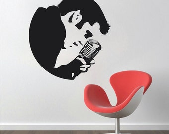 Elvis Wall Decal, Elvis Presley Wall Decal, King of Rock Wall Art, Rock n' Roll Wall Decal, Rockstar Wall Art, Removable Elvis Wall Art, a22
