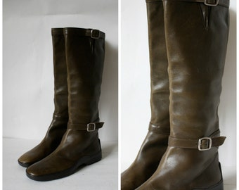 Ralph Lauren Green Leather Boots / Vintage Ralph Lauren Boots / 1980's Leather Boots / Army Green Leather Boots 6