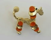 Vintage GERRYS Poodle Figural Brooch Pin, Gold-Tone Painted, Estate, Mid-Century Modern 1950s-60s