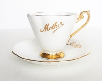 "Vintage Tea Cup ""MOTHER"" Gold ~ Made in England~ Cup & Saucer"