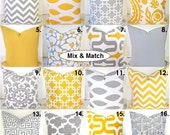 Yellow PILLOWS  SET of 2 Gray Yellow Decorative Throw Pillow Covers  16x16 Yellow Pillow Covers .All Patterns. home and Living Home Decor