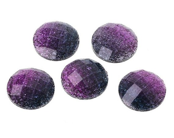 6 Pieces. Resin Flat back Cabochon 12 mm Purple and Black Glitter. Craft Supplies. DIY Supplies