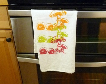 Trio of Mushrooms Hand Printed Tea Towel