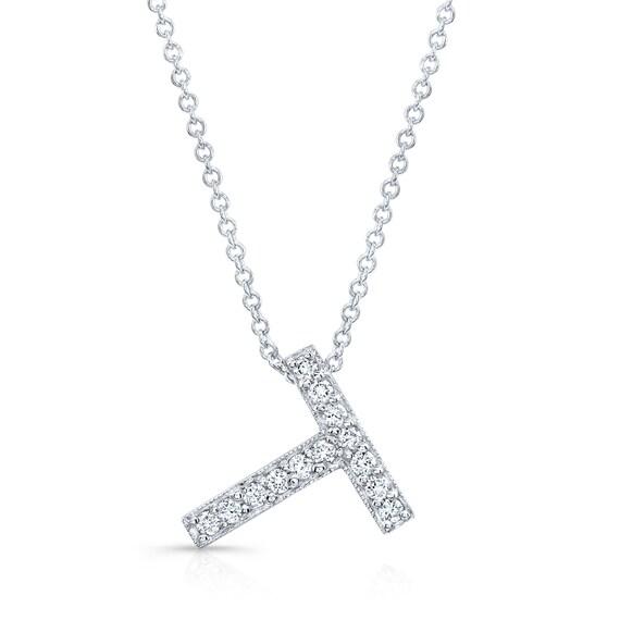 Diamond initial pendant in the letter T 14k white