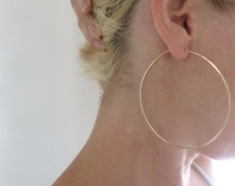 Large Gold Hoops, Oversized Gold Hoop Earrings LARGE Handmade Classic Hoops, Women, Jewellery, Wire Hoops,