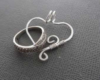 Heart Ring Keeper, Pendant, Ring Holder Necklace, Sterling Silver