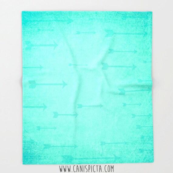 Arrow Forest Green Blanket Throw Fleece Dark Home Decor