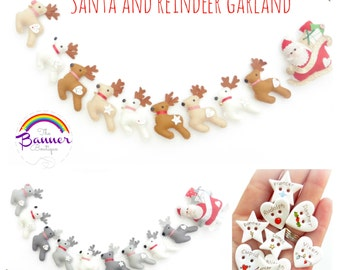 Sew your own Santa and reindeer garland.  Pattern.  Kit.