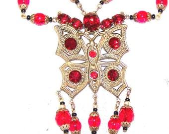 Vintage Unique Art Nouveau Butterfly Czech Glass Necklace with Blood Red Rhinestones
