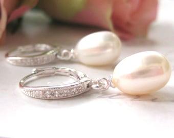 Bridal Earrings, Freshwater Pearl Tear Drop Earrings,  Bridal Jewellery, Wedding Jewelry,  Pearl drops,  CZ accents, lever back earrings