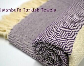 SALE 50% OFF Diamond Istanbul's Turkish BATH Towel Peshtemal - Purple - Bath, Beach, Spa, Swim, Pool Towels - Wedding Gift ,Fouta, Pestemal