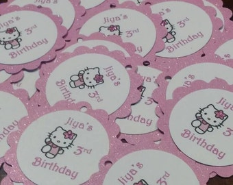Hello Kitty Glittery Personalize Birthday Party Favor Gift Thank You Tags (12)