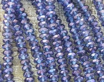 Luster Transparent Amethyst Czech Glass Rondelle Beads - 25 Beads - 2433 - Transparent Amethyst Rondell Beads