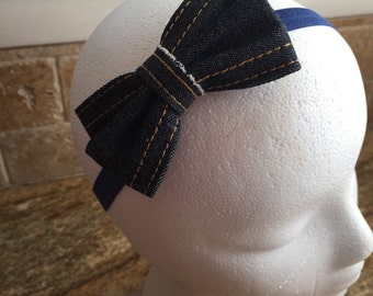 Blue Denim Hair Bow With Stars Headband or Hair Clip, Baby Girl Hair Bow Headband, Women Hair Bow, Girls Hair Bow Headband,