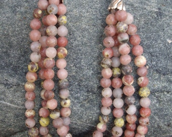 Multi Strand Pink Green Gray Brown Lavendar Lepodilite Bead Necklace with Antique Silver Cap Ends